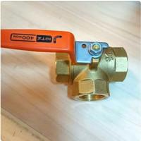 Ball valve 3way KITZ ukuran 1/2 (inch) Ball valve three way kuningan