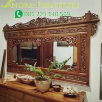 cermin/mirror/pigura ukir krepyak modifikasi kayu jati ukuran 225x125