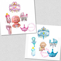 SET paket Balon foil baby born / baby shower / baby girl / boy / biru