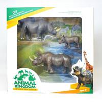 Figure Hewan Liar Badak Mainan Hewan Safari Animal Kingdom Rhino Set