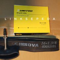 Ban Dalam 16 x 1 3/8 Sepeda Lipat Brompton Pentil Presta 50mm United