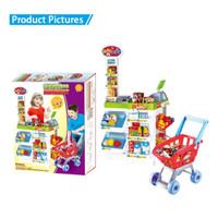 PREMIUM Mainan Anak Shopping Market Jumbo+Trolley Mainan Kasir Kasiran