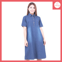 FS023 Baju Atasan Tunik Jeans Wanita Denim Lengan Pendek All Size - 3713