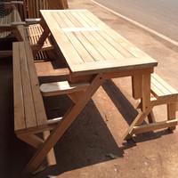 kursi meja lipat bangku kayu jati untuk taman/resto/cafe modern