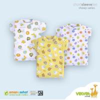 VELVET JUNIOR 3pcs Oblong Pendek RIB Print Size S,M,L (3 sd 12 BULAN)