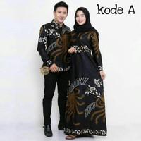 Maura Couple Sania ruffle Baju Batik Couple Mama Papa Modern - AHY. A, M