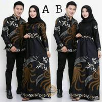 Maura Couple Sania ruffle Baju Batik Couple Mama Papa Modern