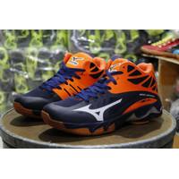 Sepatu Sneakers casual pria mizuno volly lightning biru orange