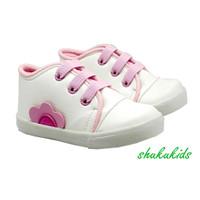 sepatu anak perempuan cewek sneaker bunga pink usia 1 tahun 2 tahun