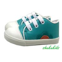 sepatu sneaker anak perempuan cewek murah hijau bunga 1 tahun 2 tahun