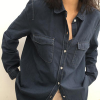 Kemeja Old Navy / Denim Shirt Dark Gray Wanita Double Pockets