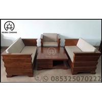 Kursi Tamu Box Kayu Jati Plus Bantalan Sofa / Meja & Kursi Tamu Jati