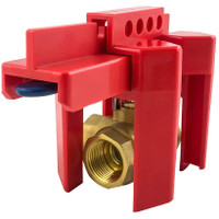 Small Ball Valve Lockout, for 1/2 - 2-1/2 OD Pipe, Red