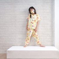 Baju tidur piyama anak karakter PRINCESS 8 10 12 th free masker