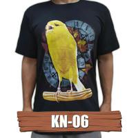 Kaos burung kenari KN-06 kaos gambar burung baju gambar burung - HITAM