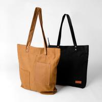 Pamole - Florance Tote Bag Bahan Kanvas Penutup Resleting Full Furing