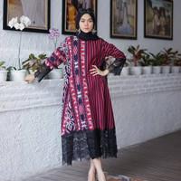 Pakaian wanita batik // Baju tenun // Gamis tenun mix brokat GMB08