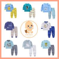 XHM - BLUE SERIES Setelan Lengan Panjang Baju Tidur Import Anak Bayi