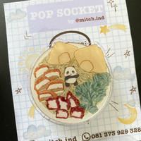 pop socket phone grip griptok lucu -animal food cute-panda noodle