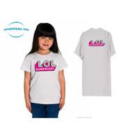 Kaos ,anak ,perempuan lengan pendek L.O.L bahan nyaman harga murah - Putih, 2-3 tahun