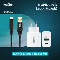 BUNDLING VOLTE RAPID PD Kepala Charger 2 port USB A & C (QC 3.0 & PD)