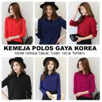 Kemeja Wanita Lengan Panjang Korea Style / Baju Hem Polos Cewek Casual