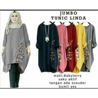Jumbo Tunic Linda, Pakaian gamis tunic jumbo,Baju atasan wanita muslim - Abu-abu, XL