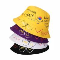 Topi Bucket Hat Premium Bolak Balik / Bucket Korea Motif Unisex - Kuning