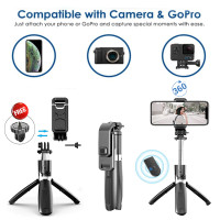 Tongsis Bluetooth Mini Tripod For Action Cam Or HP With Remote Shutter