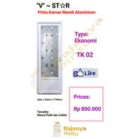 Pintu kamar mandi aluminium V~STAR Ekonomi TK02 - Putih, engsel kanan