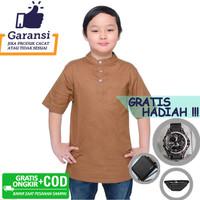 Baju Muslim Anak Koko Polos Qurta Lengan Pendek Strench Putih Premium - Cokelat, S