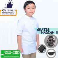 Baju Muslim Anak Koko Polos Qurta Lengan Pendek Strench Putih Premium