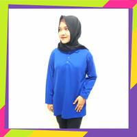 Kaos Kerah perempuan Biru Tua / Lengan panjang / polo panjang wanita