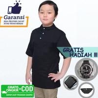 Baju Muslim Anak Koko Anak Qurta Lengan Pendek Strench Hitam Premium