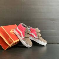 sepatu anak perempuan Vans Sk8 Hi Vlecro Pink Grey Grade Original