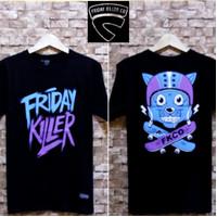 kaos distro FRIDAY KILLER kaos murah baju murah size M L XL code FK 1