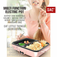 Electric Barbeque Grill Pan Hot Pot 2 in 1 Panggangan Korea Hotpot