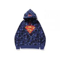 BAPE x DC Superman Color Camo Pullover Hoodie (Kids) Navy