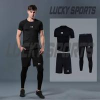 PAKET 3 IN 1 Baselayer Baju Pendek leging dan celana olahraga Gym