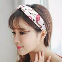 Bandana simpul bando rajut korea bandana wanita stylish - Merah Muda
