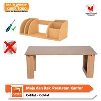 PAKET HEMAT FUNIKA Meja Lipat Serbaguna dan Rak Peralatan Kantor