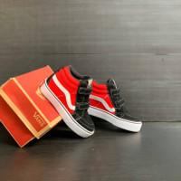 Sepatu Anak Vans Sk8 Hi Velcro Red Black Grade Original