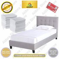 Bed Linen Single / Bed Sheet / Sprei Hotel / Sprei Putih / Kain Sprei