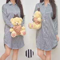 Daster Kemeja Baju Tidur Busui Kancing Depan Satin Silk Tunik Stripes