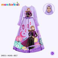 Gamis Anna Frozen Anak Perempuan 5 - 9 Tahun . Baju Muslim . KM-31D
