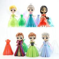 princess frozen rapunzel ganti baju dress 11cm mainan toper figure