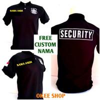 Baju Kaos Pendek Polo Hitam Security Logo Putih FREE Custom Nama