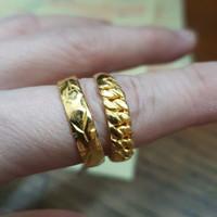 Cincin motif polos emas asli 24k 24 karat 99% kuning 5 gram 5gr