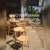kursi makan kafe cafe caffe kayu jati tanpa warna astb-0011