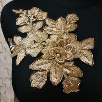 Aplikasi brokat kembang tempel bunga 3D warna gold
